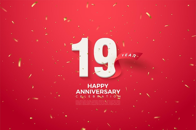 19e verjaardag met gebogen rood lint achter cijfers.