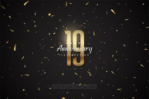 19e verjaardag met gouden stippen en cijfers.