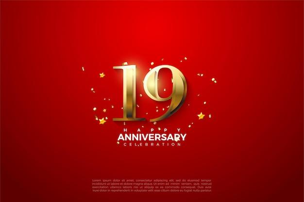 19e verjaardag met sprankelende gouden cijfers.