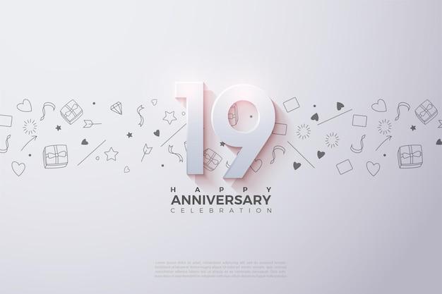 19e verjaardag met vervaagde cijfers.