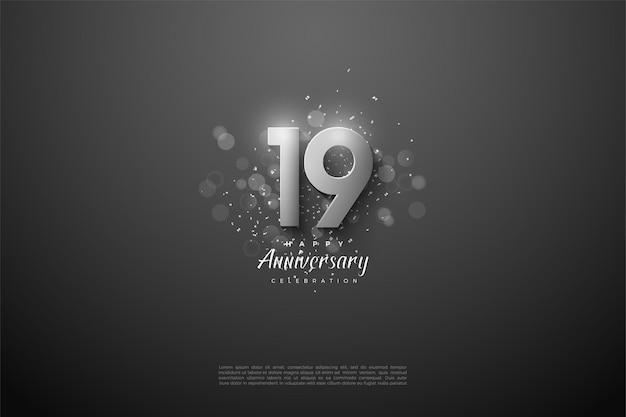 19e verjaardag met zilveren cijfers.