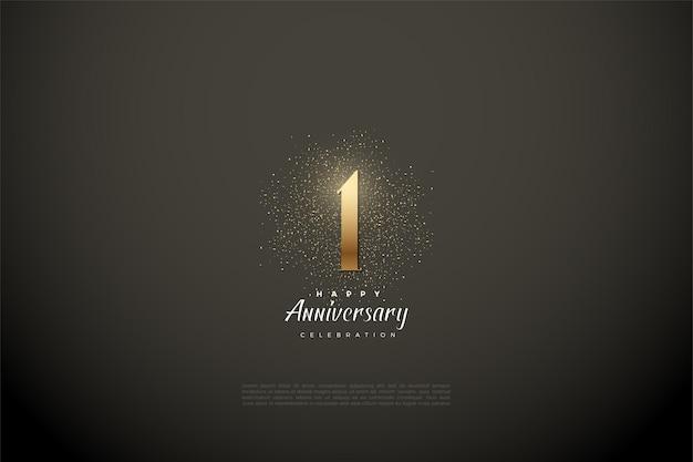 1e verjaardag met cijfers en gouden glitters op een vignet grijze achtergrond.