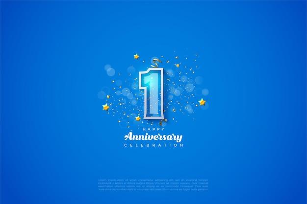 1e verjaardag met cijfers met een dikke witte rand op een blauwe achtergrond en een bokeh-effect voor de cijfers.