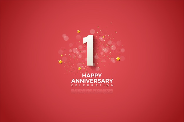 1e verjaardag met dikke witte cijfers en licht gearceerd op de bloedrode achtergrond.