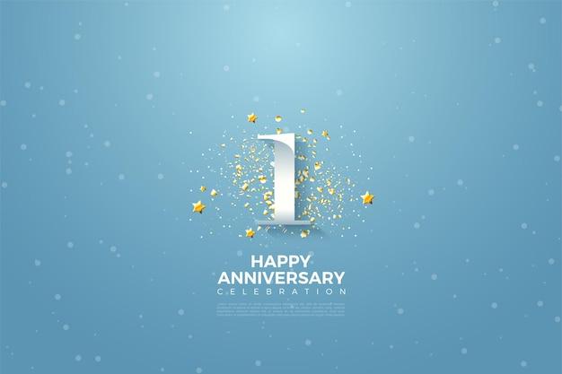 1e verjaardag met numerieke illustratie boven de hemel en omgeven door kleine sterren.