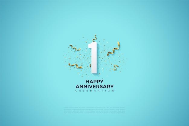 1e verjaardag met nummerillustratie en feestfestiviteiten op heldere hemelsblauwe achtergrond.