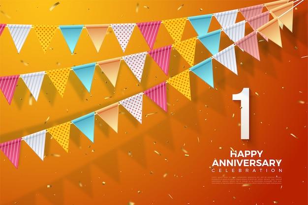 1e verjaardag met nummers rechtsonder en 3 rijen kleurrijke vlaggen.