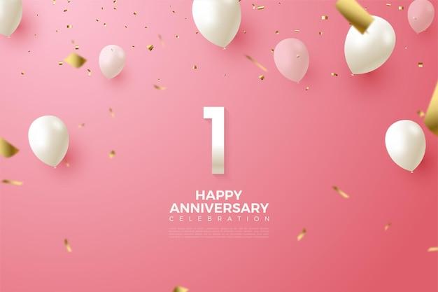 1e verjaardag met schone witte cijfers en ballonnen.