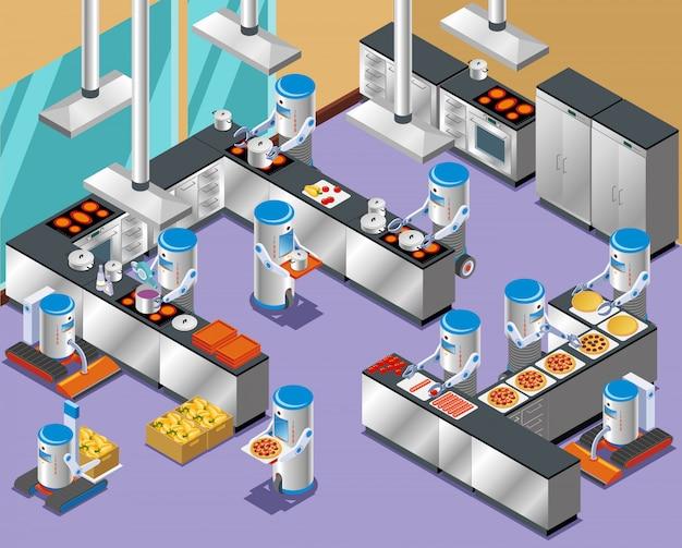 1isometrische robotachtige restaurant samenstelling