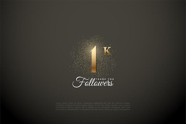 1k volger met nummer en gouden glitters