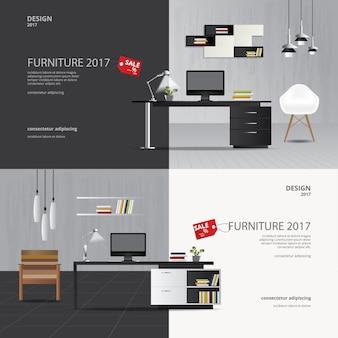 2 banner furniture sale design template vector illustration