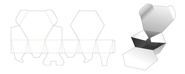 2 flips zeshoekige doos gestanst sjabloonontwerp
