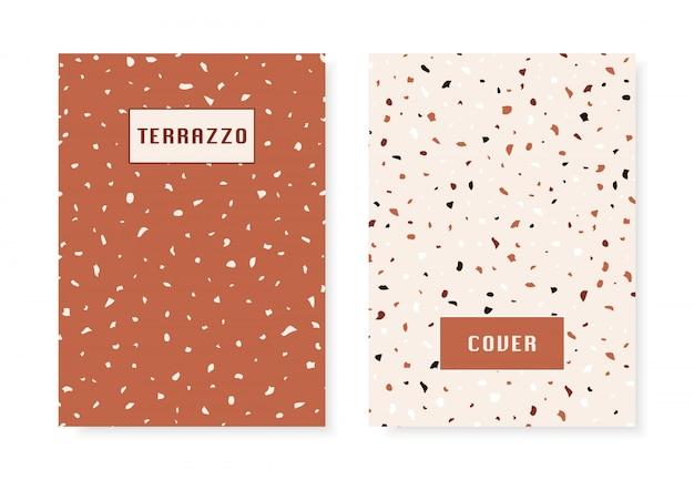 2 hoezen met imitatiepatroon van terrazzo vloeren.