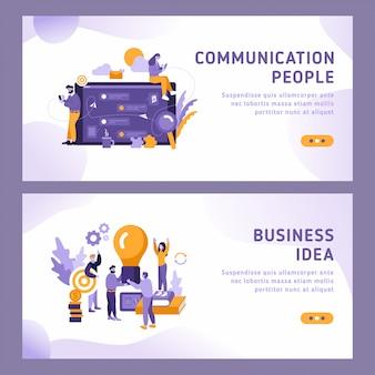 2 illustratiesjablonen voor bestemmingspagina - communicatie en zakelijke ideeën. communicatie tussen mensen met smartphones en berichten.