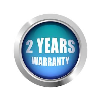 2 jaar garantie badge logo blauw glanzend zilver metallic