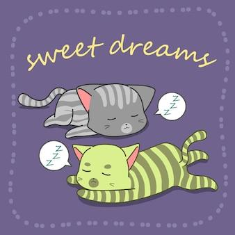 2 katten slapen in cartoon-stijl.