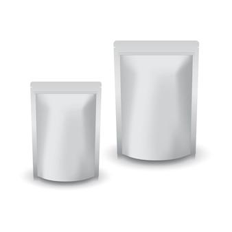 2 maten blanco zilveren staande ritssluitingszak voor voedsel of gezond product.
