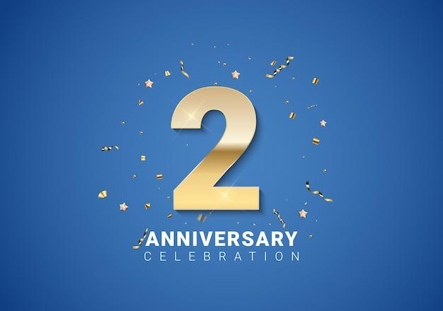 2 verjaardag achtergrond met gouden cijfers, confetti, sterren op heldere blauwe achtergrond. vectorillustratie eps10