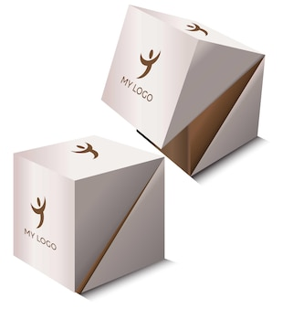 2 vierkante kartonnen dozen mockup kubusvormige dozenset
