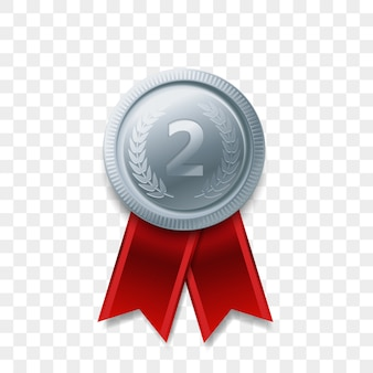 2 winnaar zilveren medaille award met lint realistisch pictogram geïsoleerd. nummer één 2e tweede plaats of beste overwinning kampioen prijs award zilveren glanzende medaille badge