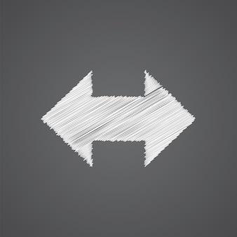 2 zijpijl schets logo doodle pictogram geïsoleerd op donkere achtergrond