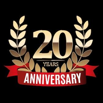 20 jaar verjaardag gouden sjabloon met rood lint en lauwerkrans