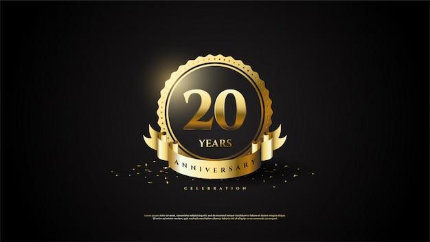 20-jarig jubileum met gouden cijfers in een gouden cirkel.