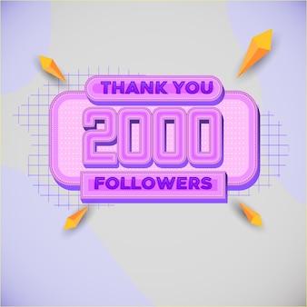 2000 volgers vierkante banner moderne look