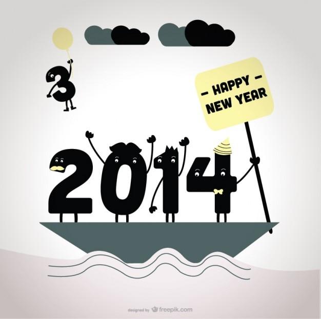 2014 afscheid van 2013 kaart ontwerp