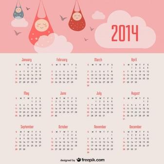 2014 kalender baby aankondiging en roze hemel