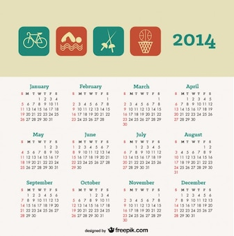 2014 kalender sport conceptontwerp