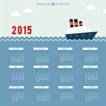 2015 kalender met de zee
