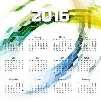 2016 kalender met een geometrische golf