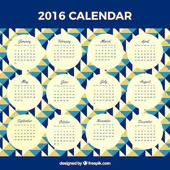2016 kalender met geometrische vormen
