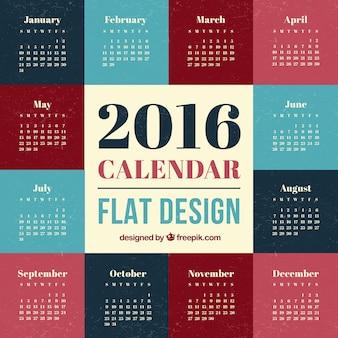 2016 kalender plat ontwerp