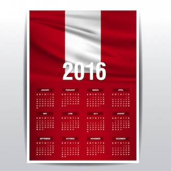 2016 kalender van de vlag van peru