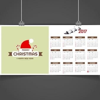 2017 kalender met hoed van de kerstman