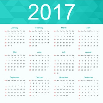 2017 kalender ontwerp