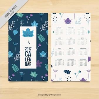 2017 kalender template van bladeren