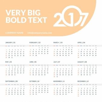 2017 orange kalender sjabloon met plaats voor tekst