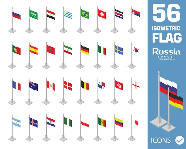 2018 fifa wereldbeker rusland isometrische vlaggen
