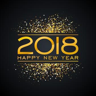 2018 gelukkig nieuwjaar achtergrond afbeelding met gouden glitter typograph nummer