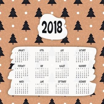 2018 kalender. het kan gebruikt worden voor web of print.