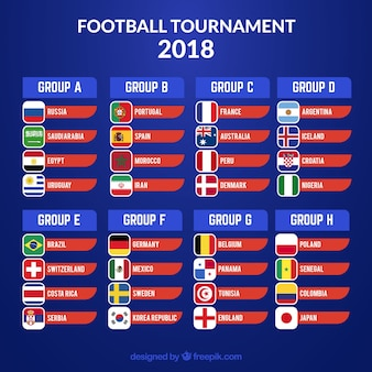 2018 voetbalbeker ontwerp met groepen