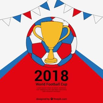 2018 wereldkampioenschap voetbal achtergrond in de hand getrokken stijl
