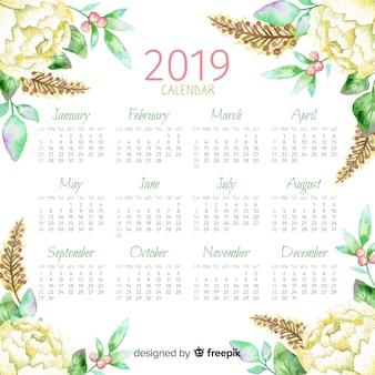 2019 aquarel bloemenkalender