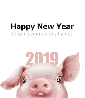 2019 aquarel varken jaar kaart