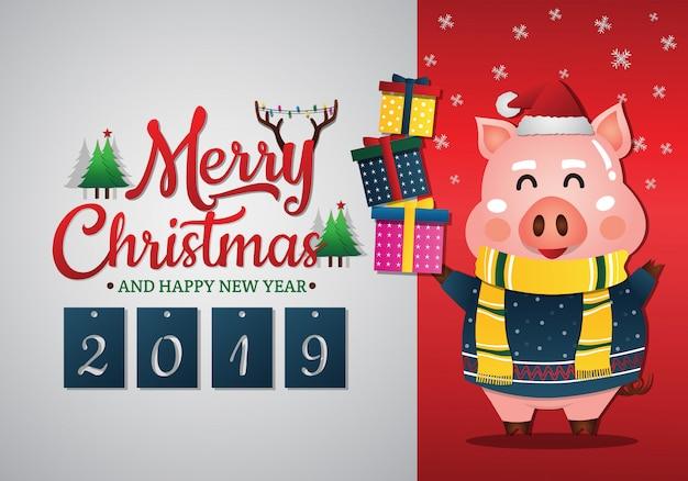 2019 chinees nieuwjaar van het varken. kerst wenskaart