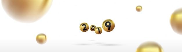 2019 gelukkig nieuw jaar met kleur kerstballen of abstracte ballen