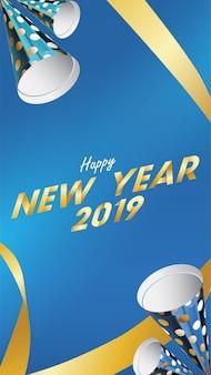 2019 gelukkig nieuwjaar achtergrond voor uitnodigingen achtergrond